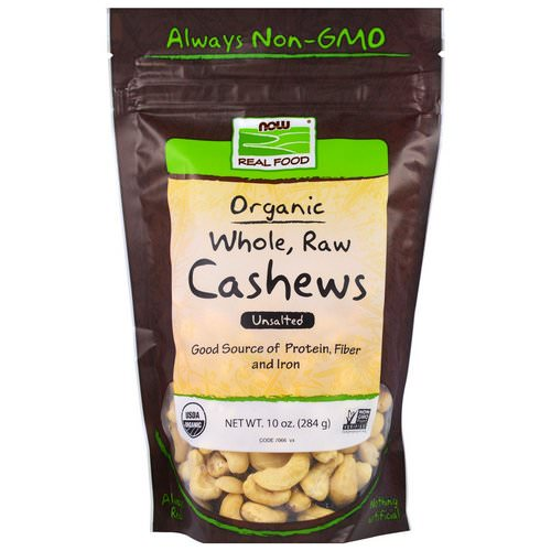 Now Foods, Real Food, Organic, Whole, Raw Cashews, Unsalted, 10 oz (284 g) Review