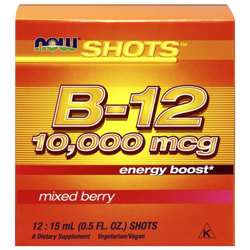 Now Foods, Shots, B-12, Mixed Berry, 10,000 mcg, 12 Shots, 0.5 fl oz (15 ml) Each Review