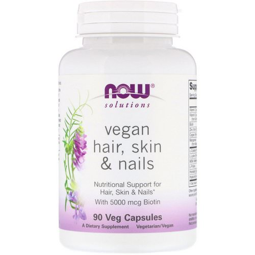 Now Foods, Solutions, Vegan Hair Skin & Nails, 90 Veg Capsules Review