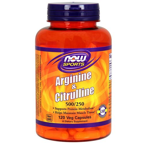 Now Foods, Sports, Arginine & Citrulline, 500 mg /250 mg, 120 Veg Capsules Review