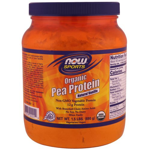 Now Foods, Sports, Organic Pea Protein, Natural Vanilla, 1.5 lbs (680 g) Review