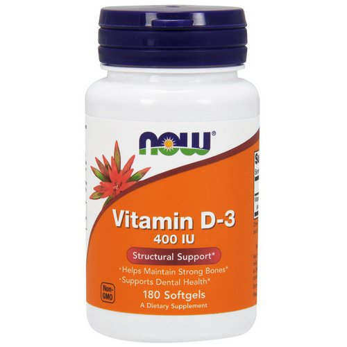 Now Foods, Vitamin D-3, 400 IU, 180 Softgels Review