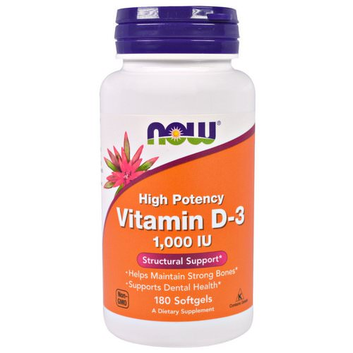 Now Foods, Vitamin D-3 High Potency, 1,000 IU, 180 Softgels Review