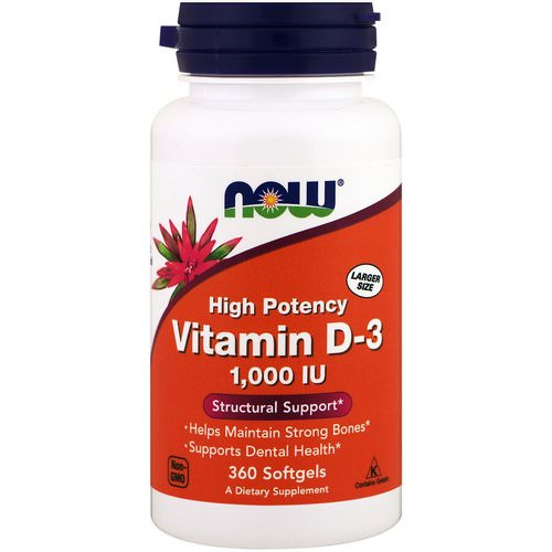 Now Foods, Vitamin D-3 High Potency, 1,000 IU, 360 Softgels Review