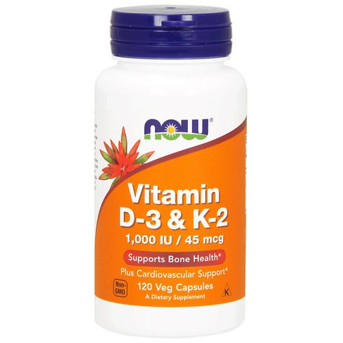 Now Foods, Vitamin D-3 & K-2, 1,000 IU / 45 mcg, 120 Veg Capsules Review