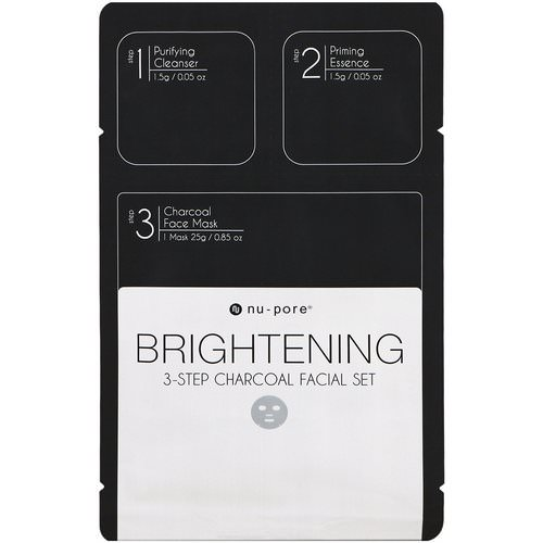 Nu-Pore, Brightening 3-Step Charcoal Facial Set, 1 Pack Review
