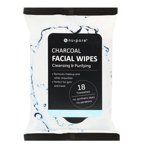 Nu-Pore, Charcoal Facial Wipes, 18 Pre-Moistened Towelettes Review