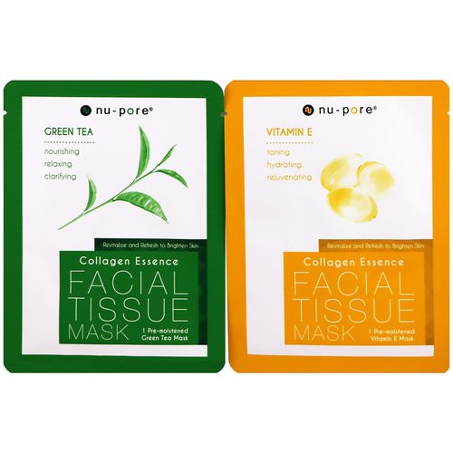 Nu-Pore, Collagen Essence Face Mask Set, Vitamin E & Green Tea, 2 Single-Use Masks, 0.85 fl oz (25 g) Each Review
