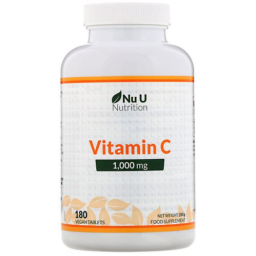 Nu U Nutrition, Vitamin C, 1,000 mg, 180 Vegan Tablets Review