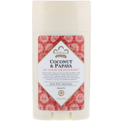 Nubian Heritage, 24 Hour Deodorant, Coconut & Papaya with Vanilla Oil, 2.25 oz (64 g) Review