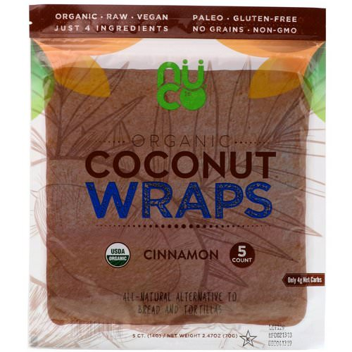 NUCO, Organic Coconut Wraps, Cinnamon, 5 Wraps (14 g) Each Review