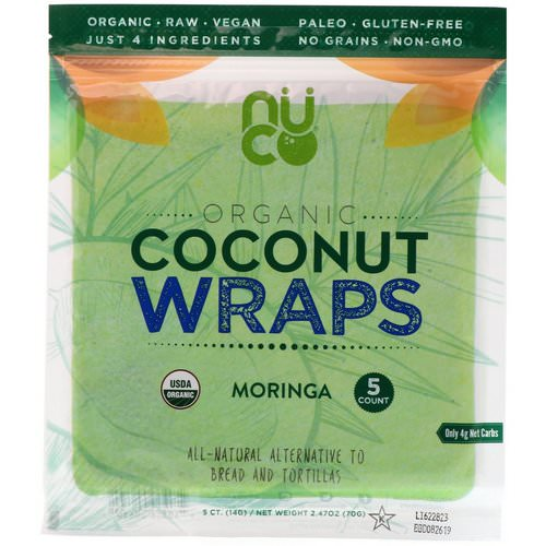 NUCO, Organic Coconut Wraps, Moringa, 5 Wraps (14 g) Each Review