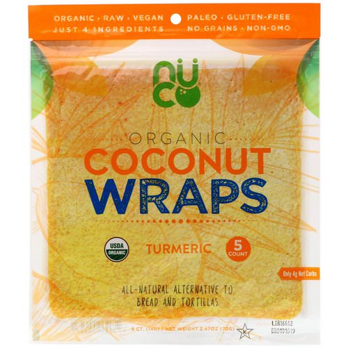 NUCO, Organic Coconut Wraps, Turmeric, 5 Wraps (14 g) Each Review