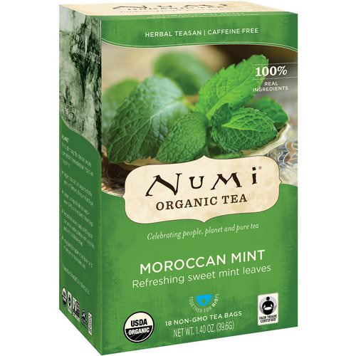 Numi Tea, Organic Tea, Herbal Teasan, Moroccan Mint, Caffeine Free, 18 Tea Bags, 1.40 oz (39.6 g) Review