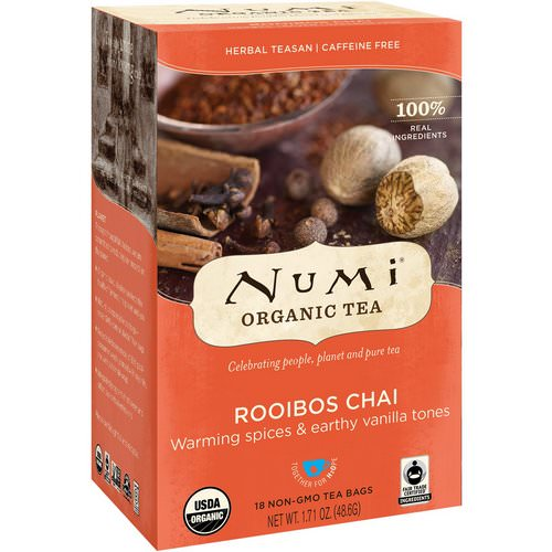 Numi Tea, Organic Tea, Herbal Teasans, Rooibos Chai, Caffeine Free, 18 Tea Bags, 1.71 oz (48.6 g) Review