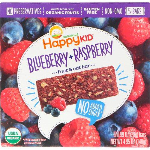 Happy Family Organics, Happy Kid, Blueberry + Raspberry, Fruit & Oat Bar, 5 Bars, 0.99 oz (28 g) Each Review