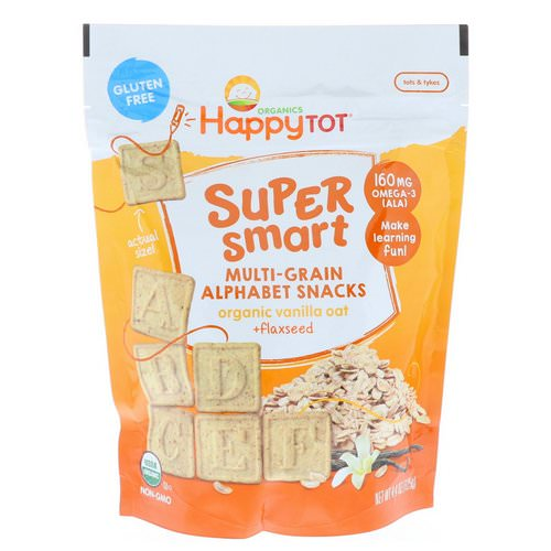 Happy Family Organics, Happy Tot, Super Smart, Multi-Grain Alphabet Snacks, Organic Vanilla Oat + Flaxseed, 4.4 oz (125 g) Review