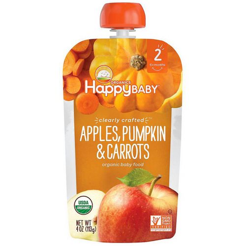 Happy Family Organics, Organic Baby Food, Stage 2, Clearly Crafted, 6+ Months Apples, Pumpkin & Carrots, 4 oz (113 g) Review