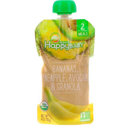 Happy Family Organics, Organic Baby Food, Stage 2, Clearly Crafted, 6+, Bananas, Pineapple, Avocado & Granola, 4 oz (113 g) Review