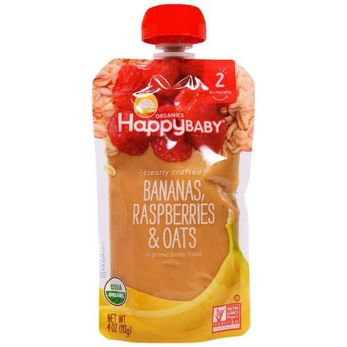 Happy Family Organics, Organic Baby Food, Stage 2, Clearly Crafted, 6+ Months, Bananas, Raspberries & Oats, 4 oz (113 g) Review