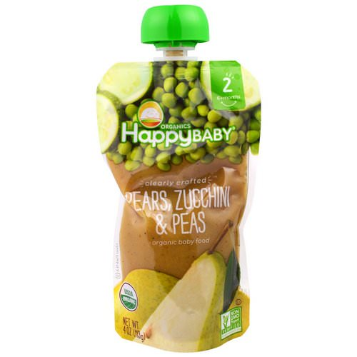 Happy Family Organics, Organic Baby Food, Stage 2, Clearly Crafted 6+ Months, Pears, Zucchini & Peas, 4.0 oz (113 g) Review