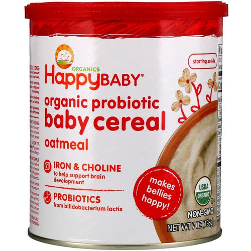 Happy Family Organics, Organic Probiotic Baby Cereal, Oatmeal, 7 oz (198 g) Review