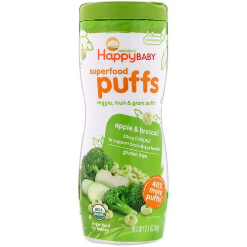 Happy Family Organics, Superfood Puffs Veggie, Fruit & Grain, Apple & Broccoli, 2.1 oz (60 g) Review