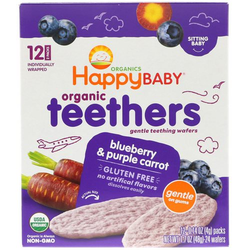 Happy Family Organics, Organic Teethers, Gentle Teething Wafers, Sitting Baby, Blueberry & Purple Carrot, 12 Packs, 0.14 oz (4 g) Each Review