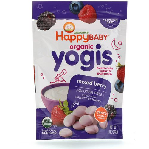 Happy Family Organics, Organic Yogis, Freeze Dried Yogurt & Fruit Snacks, Mixed Berry, 1 oz (28 g) Review
