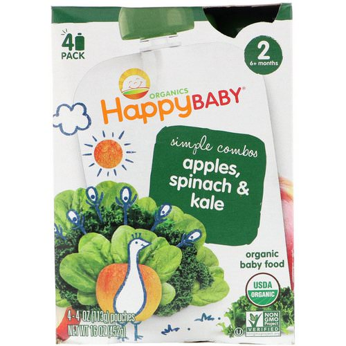 Happy Family Organics, Organics, Stage 2, Simple Combos, Apples, Spinach & Kale, 4 Pouches, 4 oz (113 g) Each Review