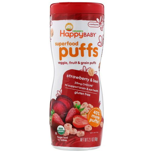 Happy Family Organics, Superfood Puffs Veggie, Fruit & Grain, Strawberry & Beet, 2.1 oz (60 g) Review