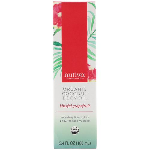 Nutiva, Organic Coconut Body Oil, Blissful Grapefruit, 3.4 fl oz (100 ml) Review