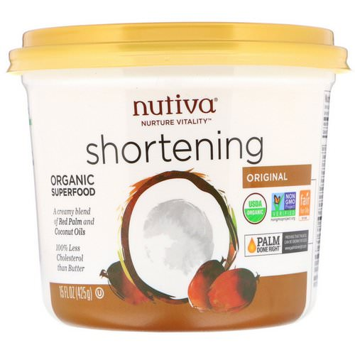 Nutiva, Organic Shortening, Original, Red Palm and Coconut Oils, 15 oz (425 g) Review