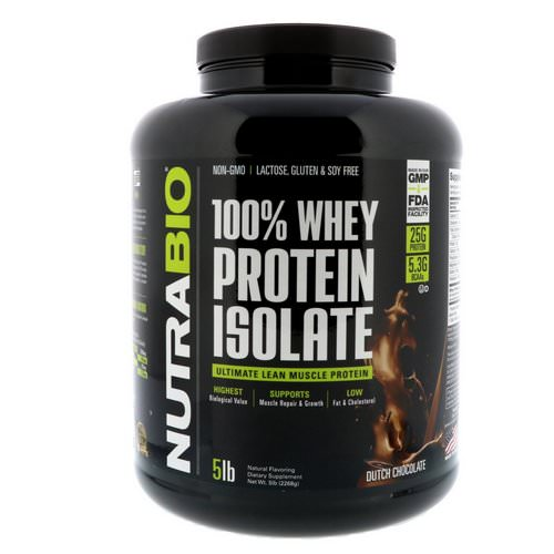NutraBio Labs, 100% Whey Protein Isolate, Dutch Chocolate, 5 lbs (2268 g) Review