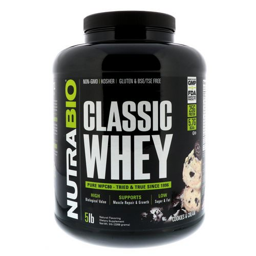 NutraBio Labs, Classic Whey Protein, Cookies & Cream, 5 lbs (2268 g) Review