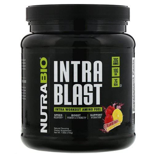 NutraBio Labs, Intra Blast, Intra Workout Amino Fuel, Strawberry Lemon Bomb, 1.63 lb (740 g) Review