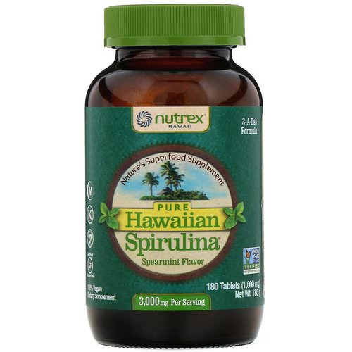 Nutrex Hawaii, Pure Hawaiian Spirulina, Spearmint, 1,000 mg, 180 Tablets Review