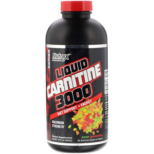 Nutrex Research, Liquid Carnitine 3000, Sour Gummies, 16 fl oz (480 ml) Review