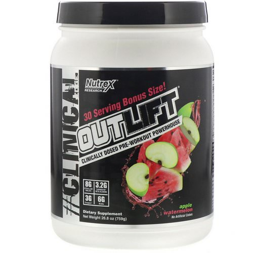 Nutrex Research, Outlift, Clinically Dosed Pre-Workout Powerhouse, Apple Watermelon, 26.8 oz (759 g) Review