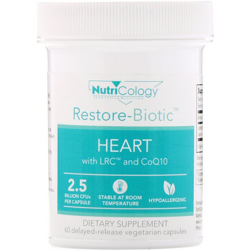Nutricology, Restore-Biotic, Heart with LRC and CoQ10, 2.5 Billion CFU, 60 Delayed-Release Vegetarian Capsules Review