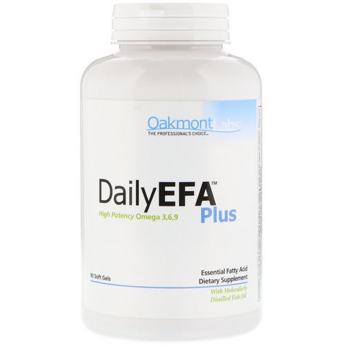 Oakmont Labs, Daily EFA Plus, High Potency Omega 3,6,9, 90 Soft Gels Review