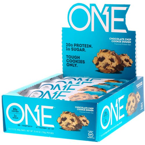 One Brands, One Bar, Chocolate Chip Cookie Dough, 12 Bars, 2.12 oz (60 g) Each Review