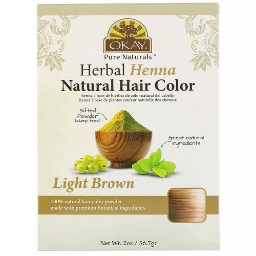 Okay, Herbal Henna Natural Hair Color, Light Brown, 2 oz (56.7 g) Review