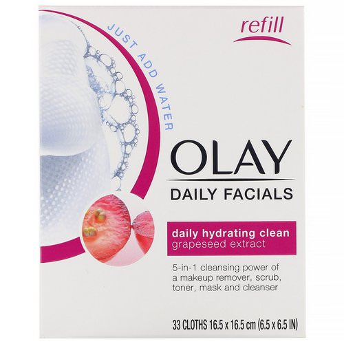 Olay, Daily Hydrating Clean, 5-in-1 Cleansing Cloth Refill, 33 Cloths Review