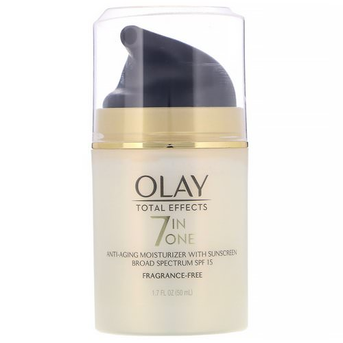 Olay, Total Effects, 7-in-One Anti-Aging Moisturizer with Sunscreen, SPF 15, Fragrance-Free, 1.7 fl oz (50 ml) Review