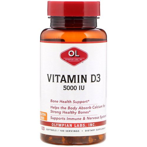 Olympian Labs, Vitamin D3, 5000 IU, 100 Softgels Review