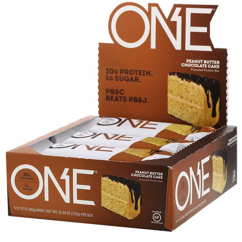 One Brands, One Bar, Peanut Butter Chocolate Cake, 12 Bars, 2.12 oz (60 g) Each Review