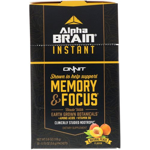 Onnit, Alpha Brain Instant, Memory & Focus, Natural Peach, 30 Packets, 0.13 oz (3.6 g) Each Review