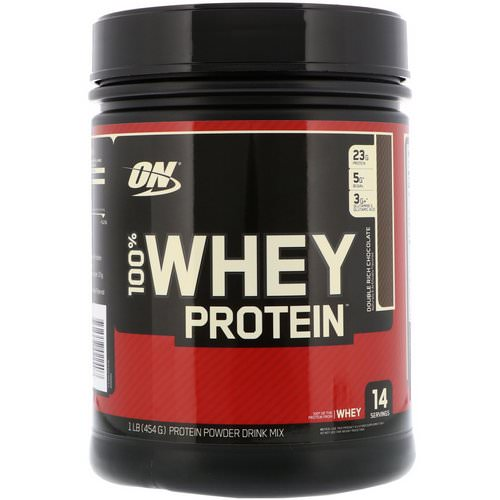 Optimum Nutrition, 100% Whey Protein, Double Rich Chocolate, 1 lb (454 g) Review