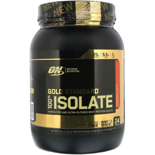 Optimum Nutrition, Gold Standard, 100% Isolate, Strawberry Cream, 1.58 lb (720 g) Review